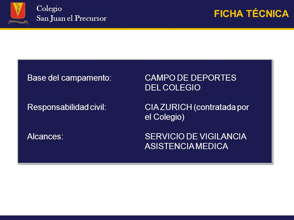 FICHA TÉCNICA Colegio San Juan el Precursor
