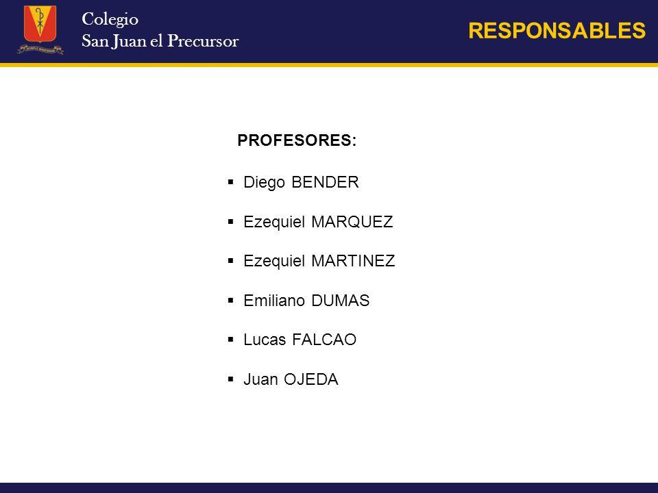 RESPONSABLES Colegio San Juan el Precursor PROFESORES: Diego BENDER