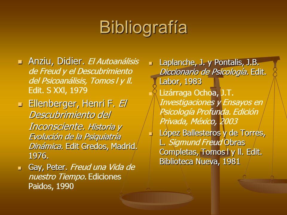 Bibliografía Anziu, Didier. El Autoanálisis de Freud y el Descubrimiento del Psicoanálisis, Tomos l y ll. Edit. S XXl, 1979.