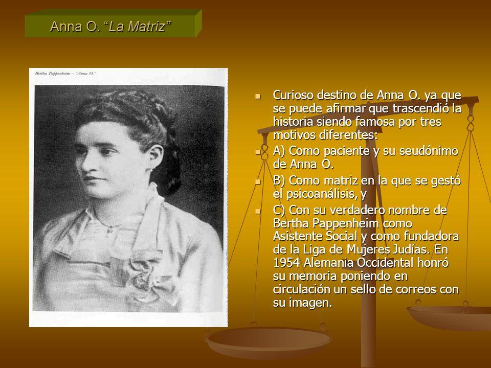 Anna O. La Matriz Curioso destino de Anna O. ya que se puede afirmar que trascendió la historia siendo famosa por tres motivos diferentes: