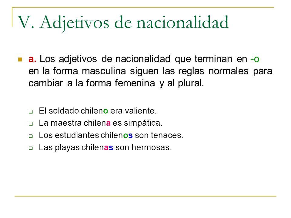 V. Adjetivos de nacionalidad