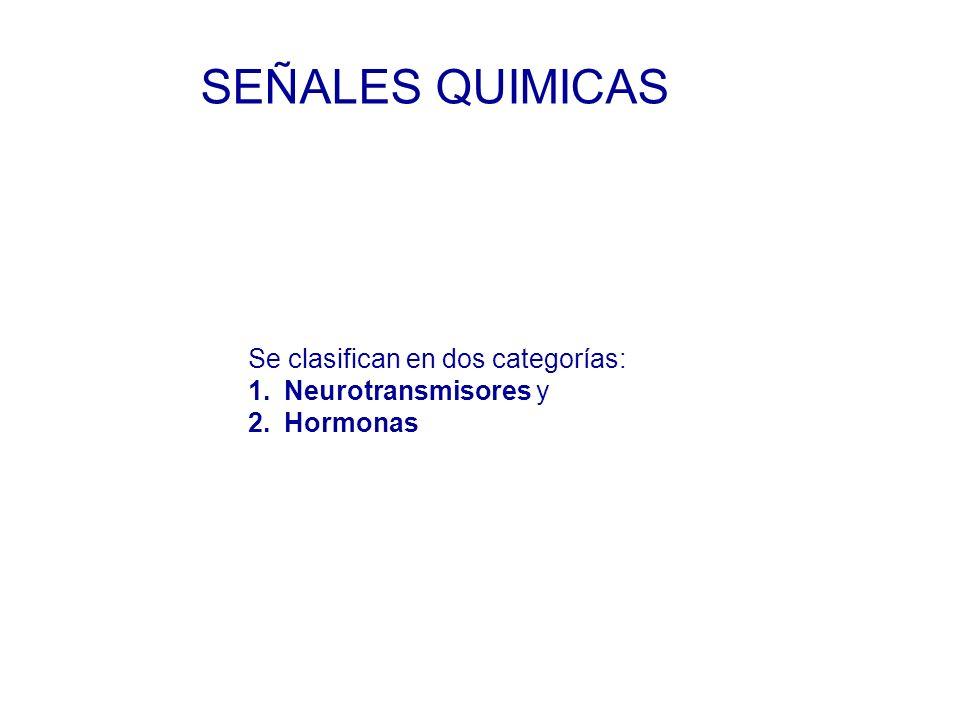 SEÑALES QUIMICAS Se clasifican en dos categorías: Neurotransmisores y