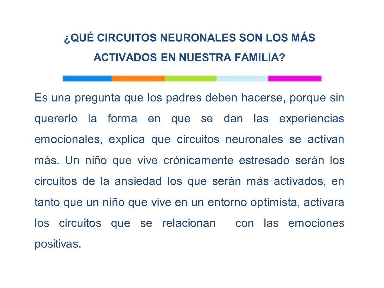 ¿QUÉ CIRCUITOS NEURONALES SON LOS MÁS ACTIVADOS EN NUESTRA FAMILIA