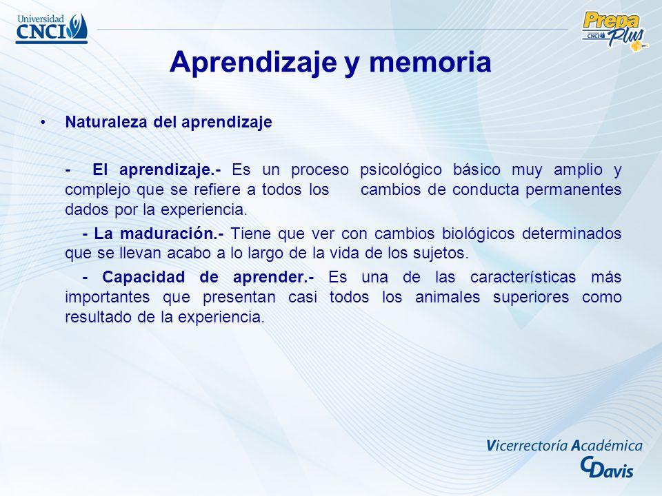 Aprendizaje y memoria Naturaleza del aprendizaje