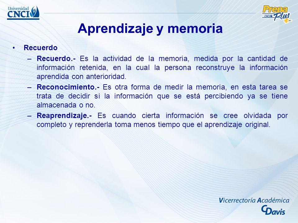 Aprendizaje y memoria Recuerdo