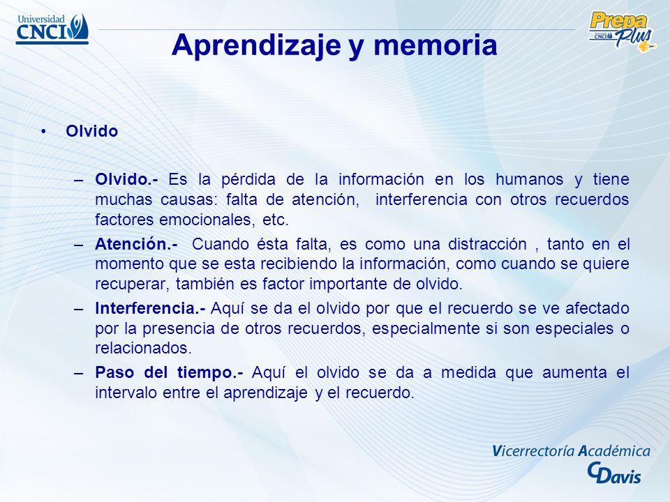 Aprendizaje y memoria Olvido