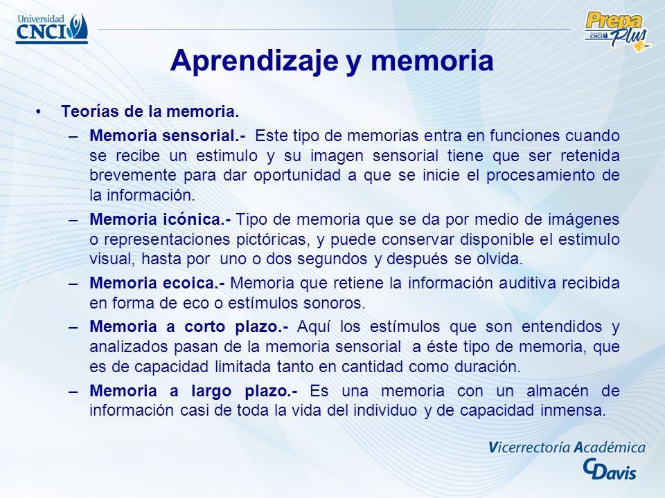 Aprendizaje y memoria Teorías de la memoria.