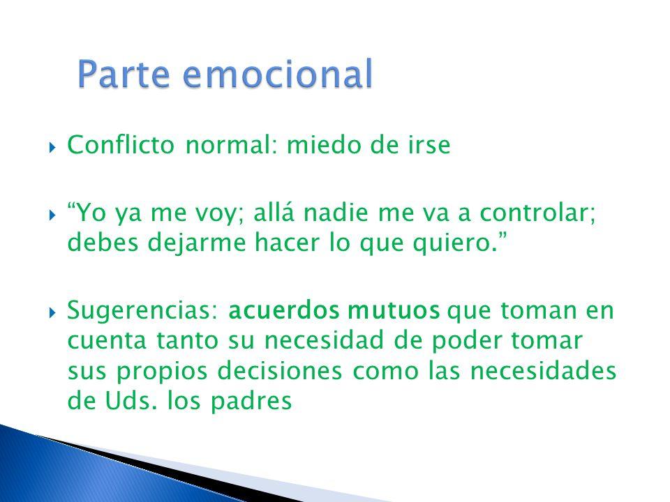 Parte emocional Conflicto normal: miedo de irse