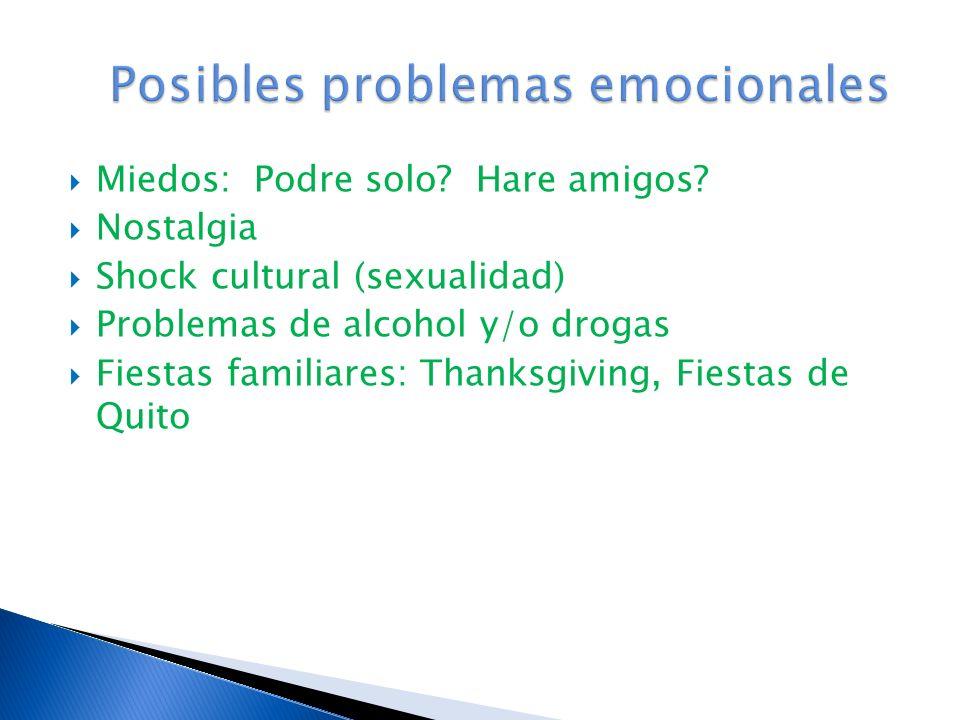 Posibles problemas emocionales