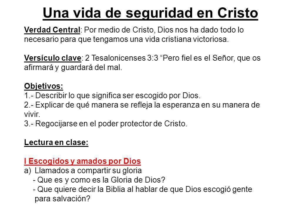 Una vida de seguridad en Cristo