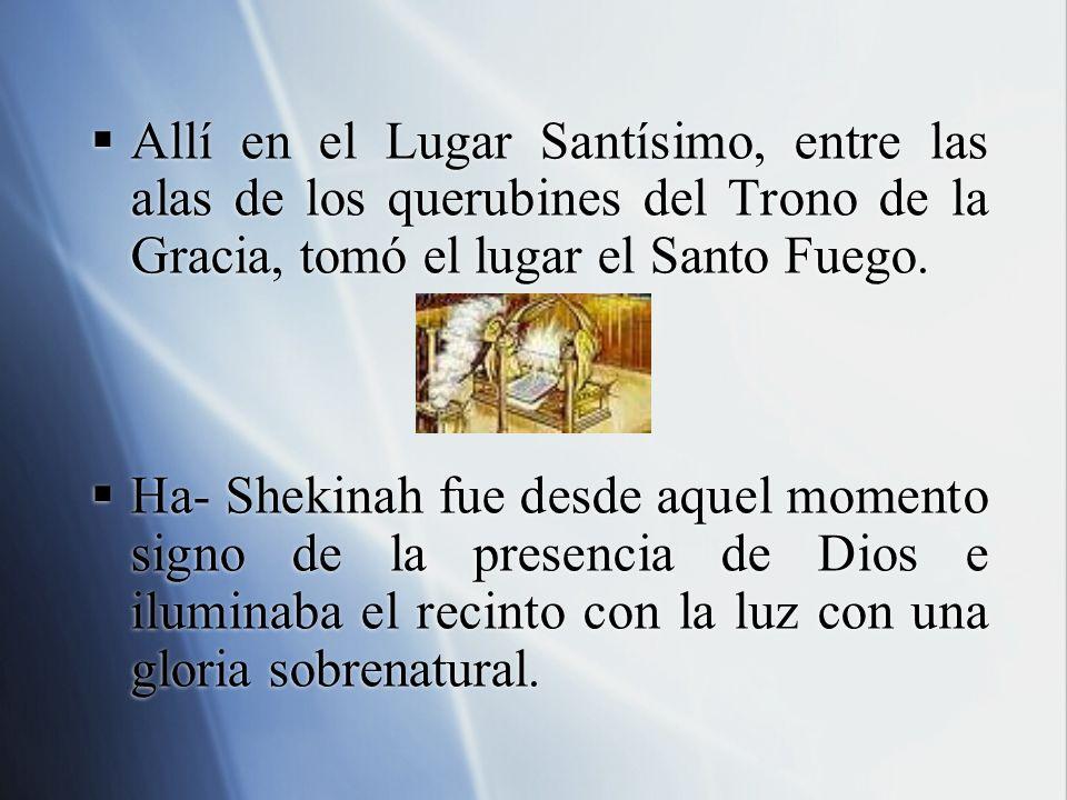 Allí en el Lugar Santísimo, entre las alas de los querubines del Trono de la Gracia, tomó el lugar el Santo Fuego.