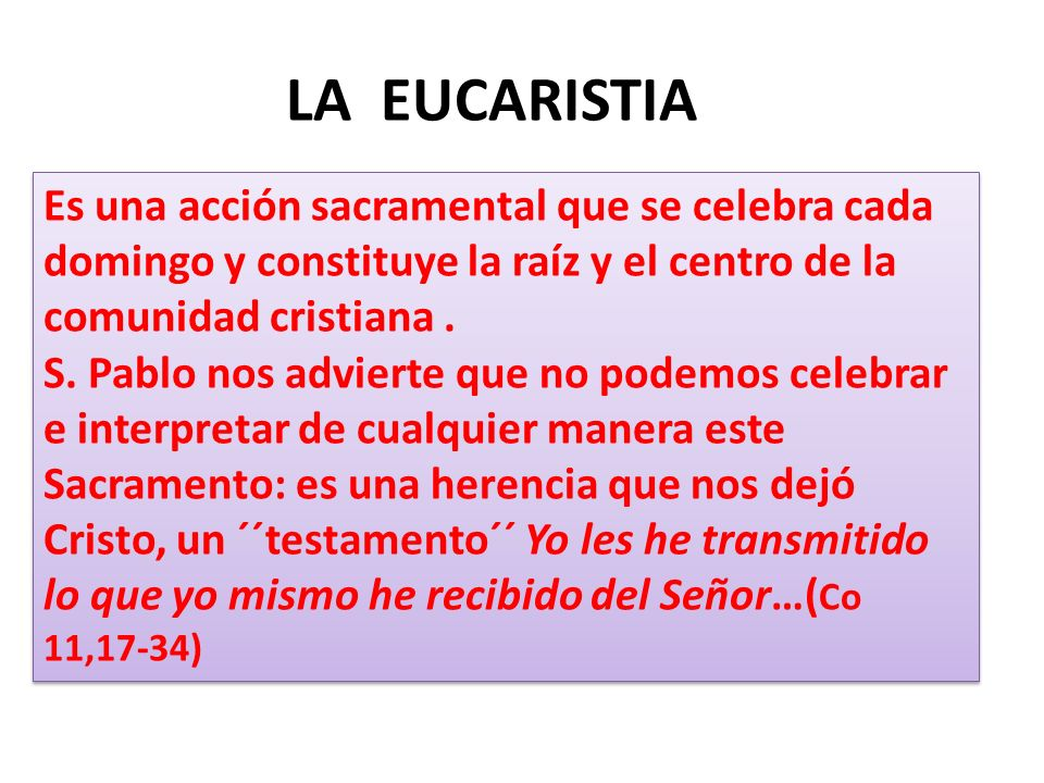 LA EUCARISTIA Es una acción sacramental que se celebra cada domingo y constituye la raíz y el centro de la comunidad cristiana .