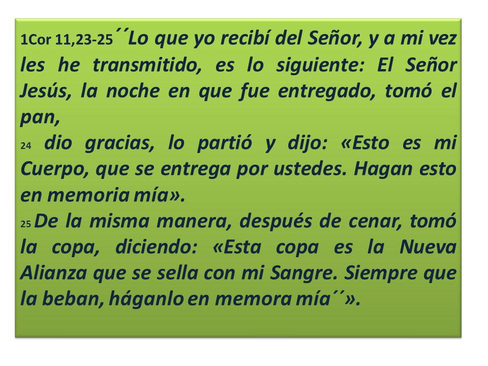 1Cor 11,23-25´´Lo que yo recibí del Señor, y a mi vez les he transmitido, es lo siguiente: El Señor Jesús, la noche en que fue entregado, tomó el pan,
