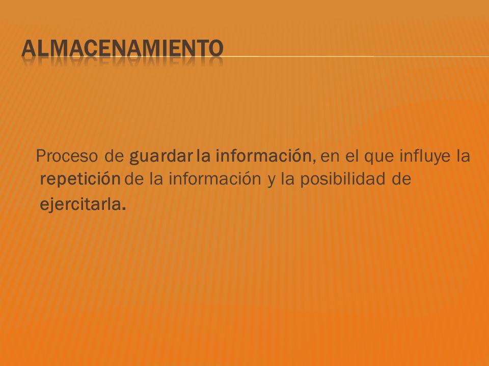 Almacenamiento Proceso de guardar la información, en el que influye la repetición de la información y la posibilidad de ejercitarla.