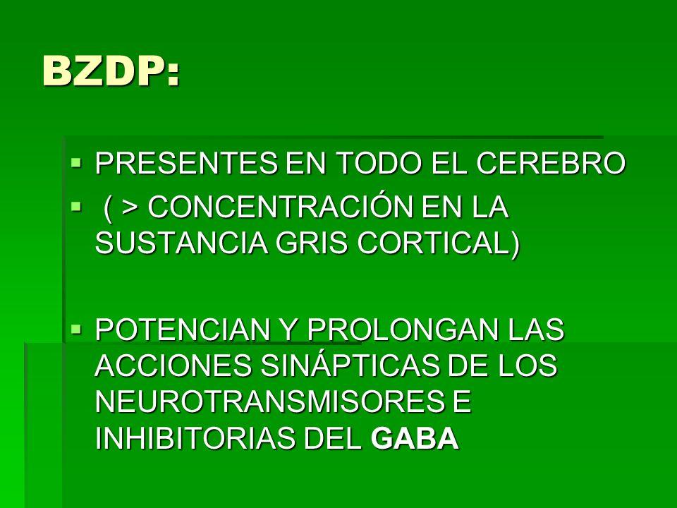 BZDP: PRESENTES EN TODO EL CEREBRO