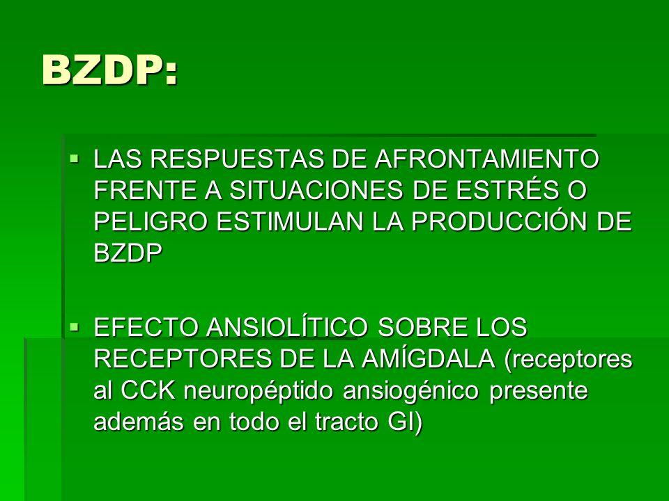BZDP: LAS RESPUESTAS DE AFRONTAMIENTO FRENTE A SITUACIONES DE ESTRÉS O PELIGRO ESTIMULAN LA PRODUCCIÓN DE BZDP.