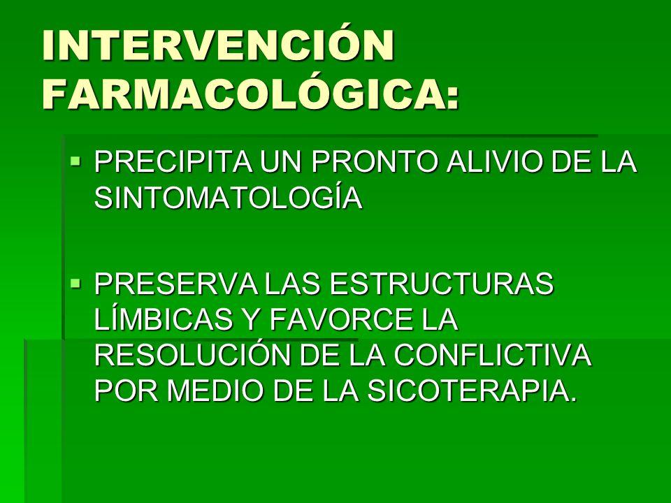 INTERVENCIÓN FARMACOLÓGICA: