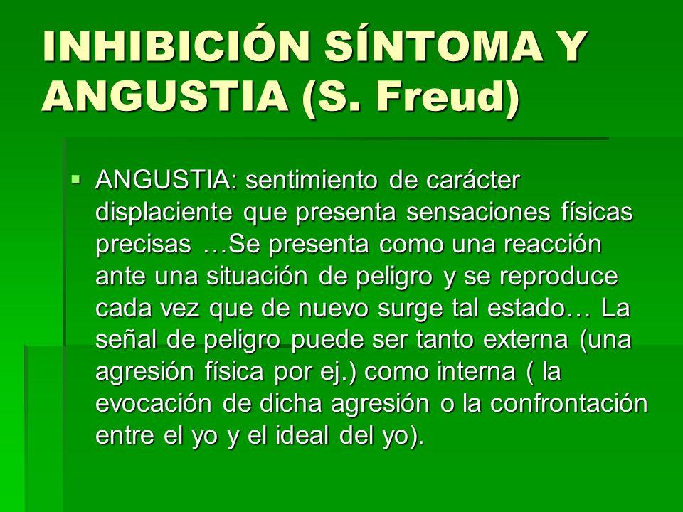 INHIBICIÓN SÍNTOMA Y ANGUSTIA (S. Freud)