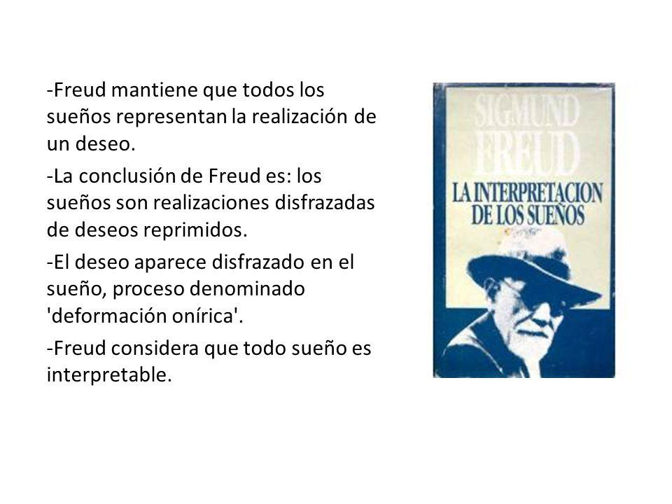 -Freud mantiene que todos los sueños representan la realización de un deseo.