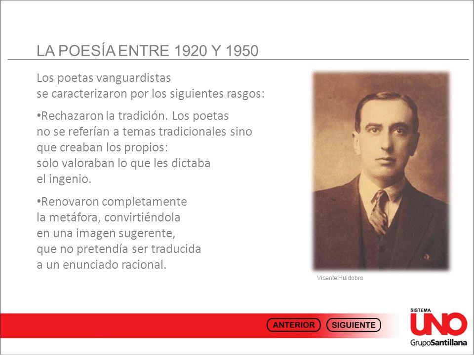 LA POESÍA ENTRE 1920 Y 1950 Los poetas vanguardistas se caracterizaron por los siguientes rasgos: