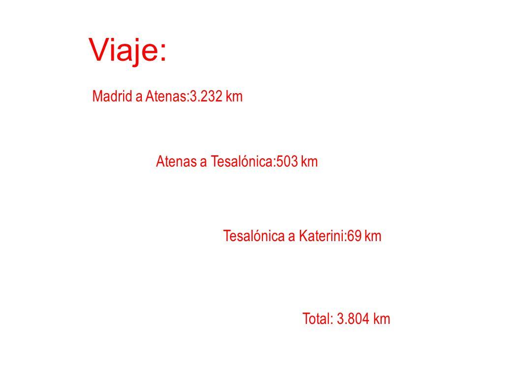Viaje: Madrid a Atenas:3.232 km Atenas a Tesalónica:503 km