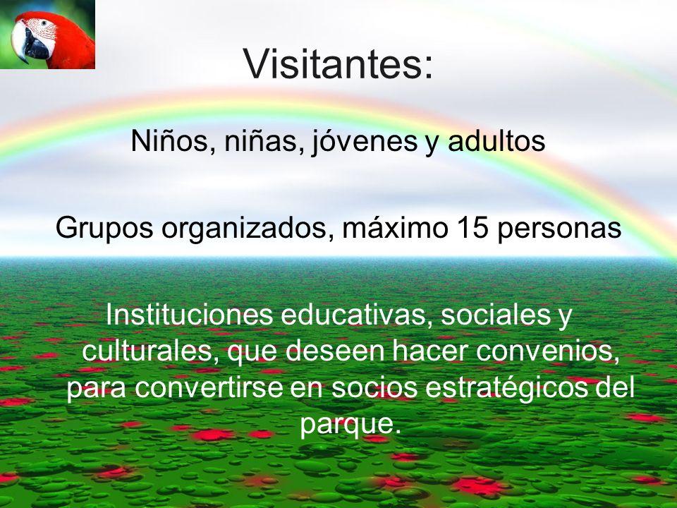 Visitantes: Niños, niñas, jóvenes y adultos