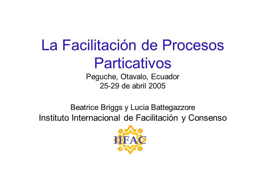 La Facilitación de Procesos Particativos Peguche, Otavalo, Ecuador 25-29 de abril 2005