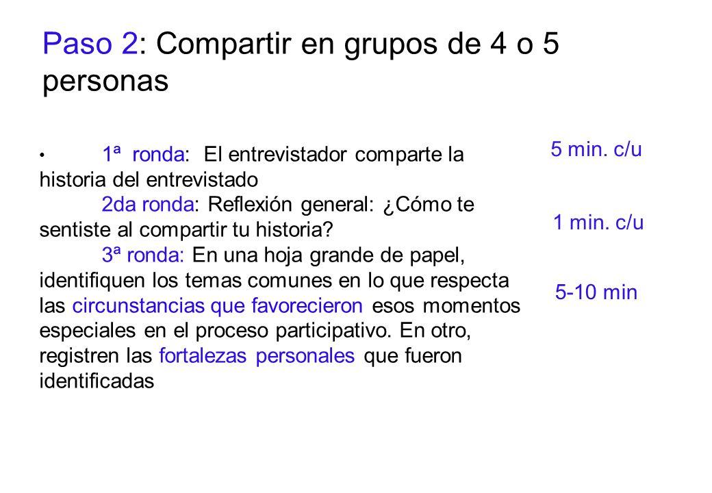 Paso 2: Compartir en grupos de 4 o 5 personas