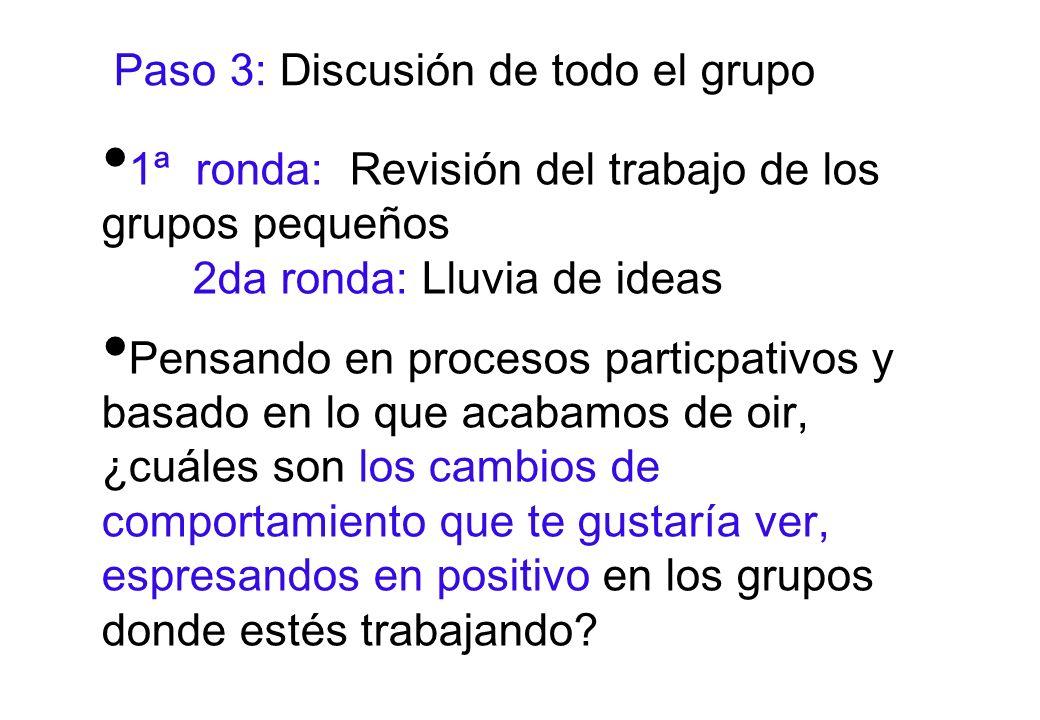 Paso 3: Discusión de todo el grupo