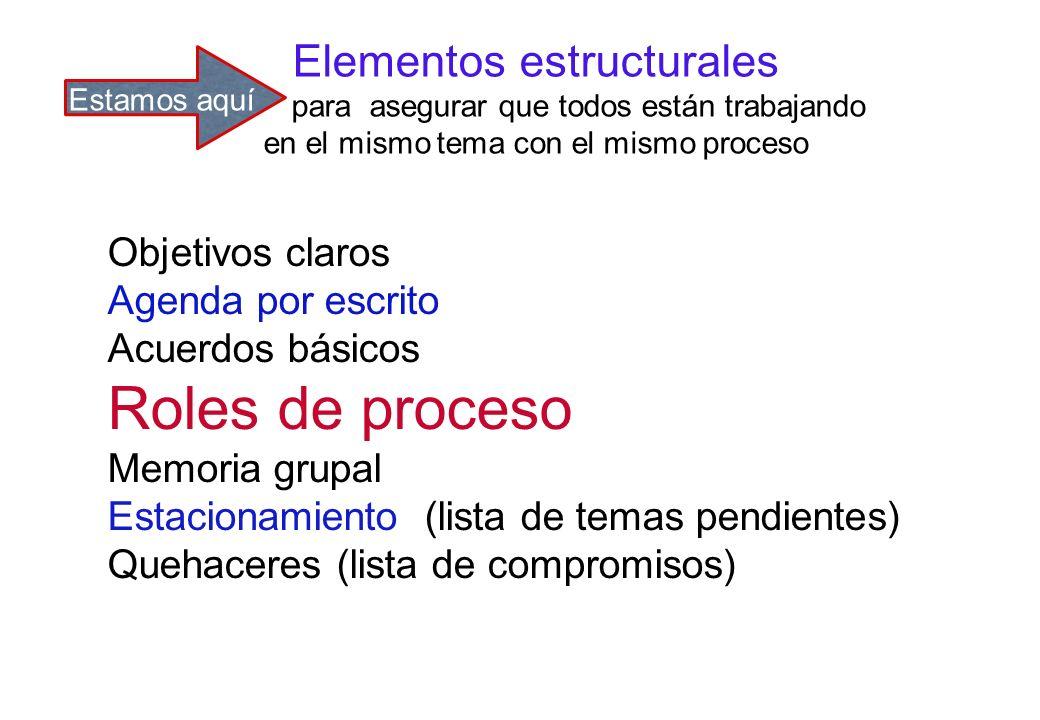 Roles de proceso Elementos estructurales Objetivos claros