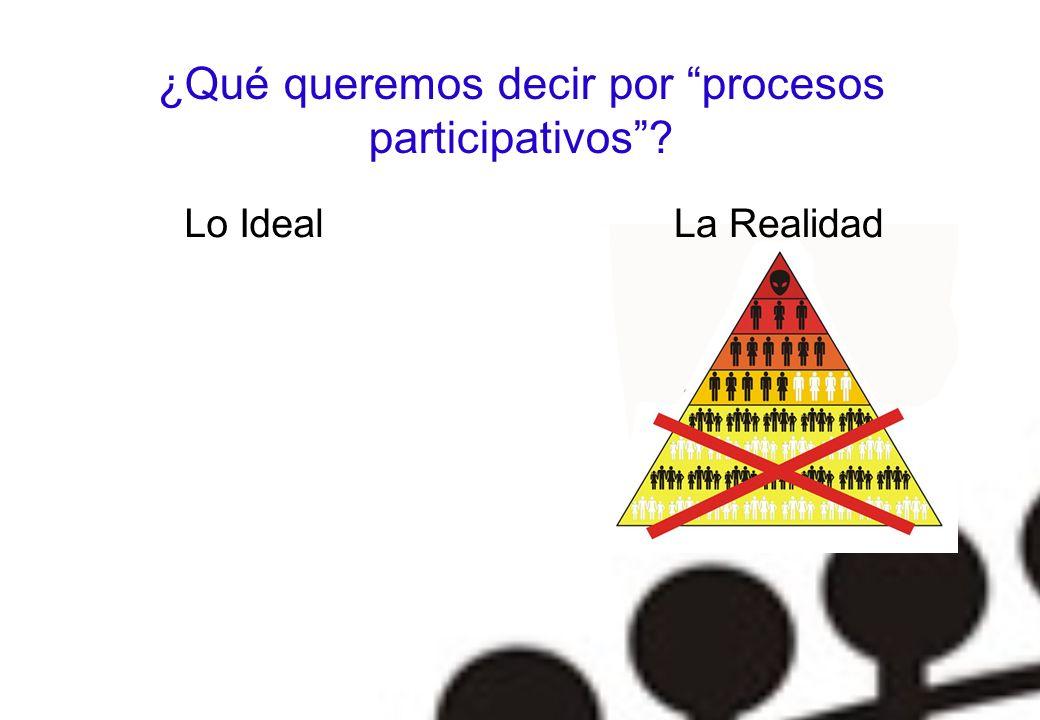 ¿Qué queremos decir por procesos participativos
