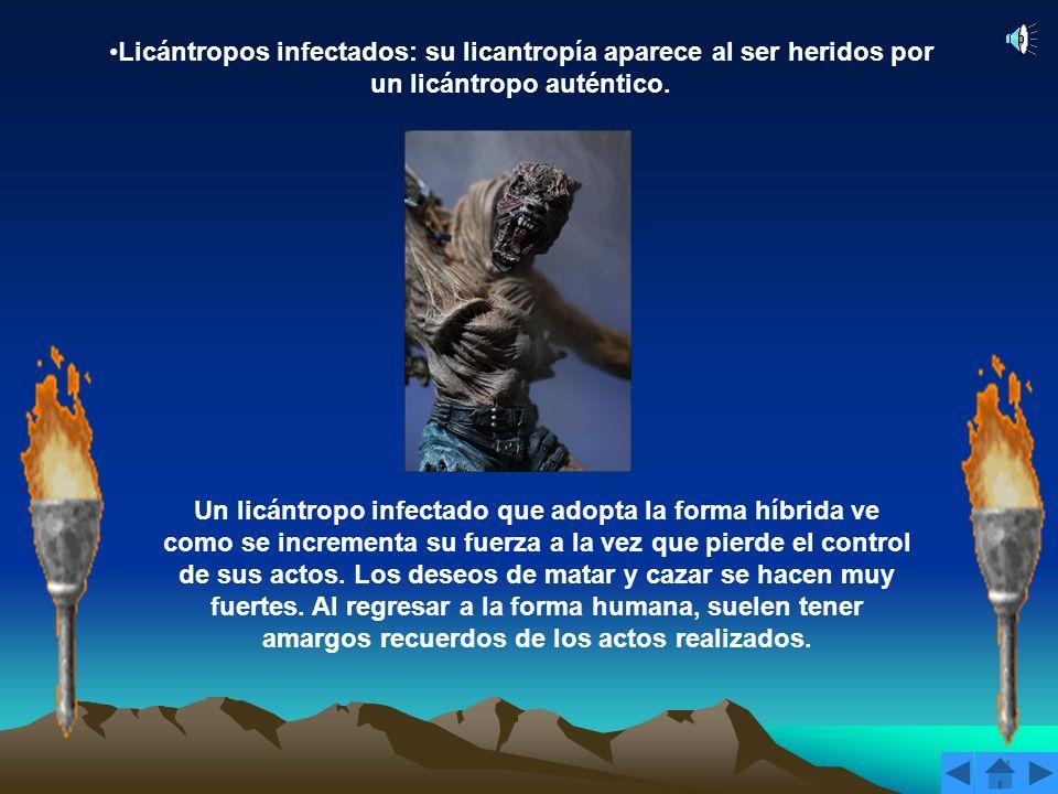 Licántropos infectados: su licantropía aparece al ser heridos por un licántropo auténtico.