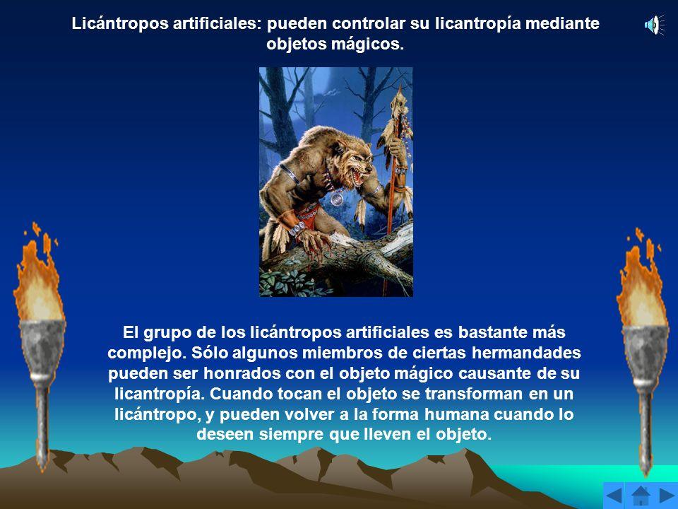 Licántropos artificiales: pueden controlar su licantropía mediante objetos mágicos.