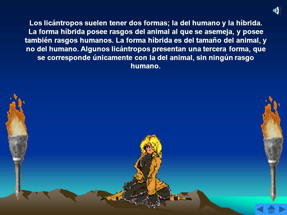 Los licántropos suelen tener dos formas; la del humano y la híbrida