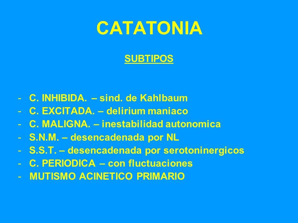 CATATONIA SUBTIPOS C. INHIBIDA. – sind. de Kahlbaum