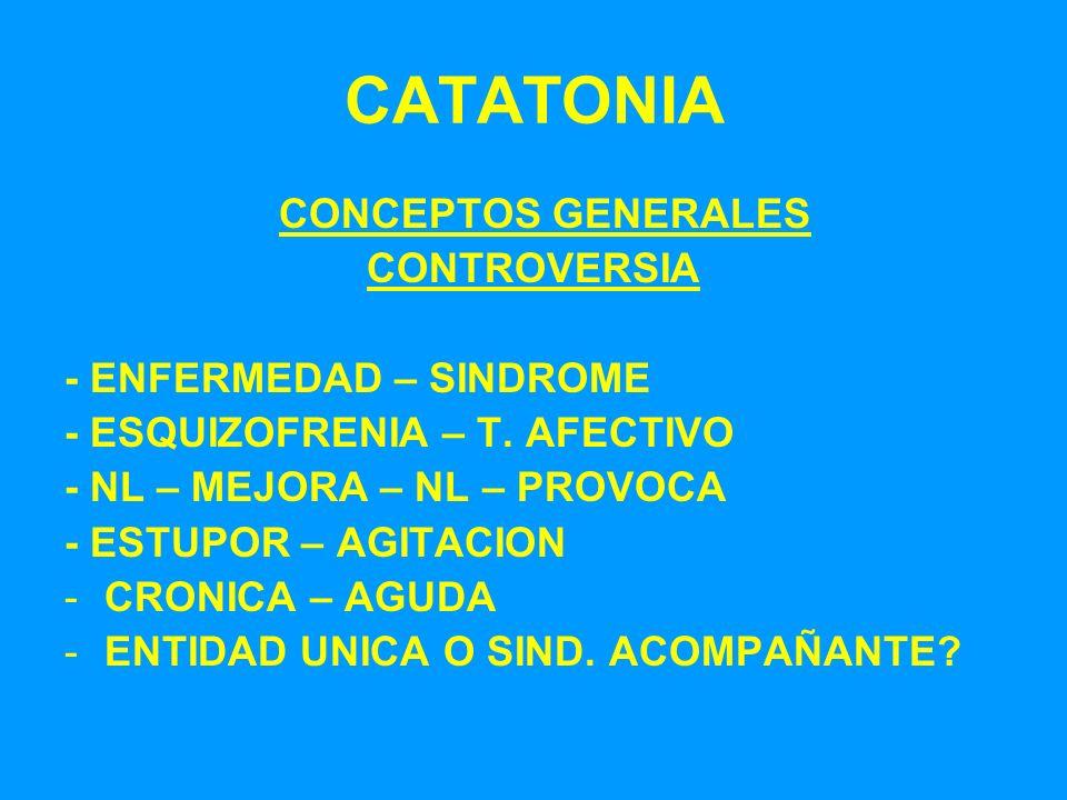 CATATONIA CONCEPTOS GENERALES CONTROVERSIA - ENFERMEDAD – SINDROME