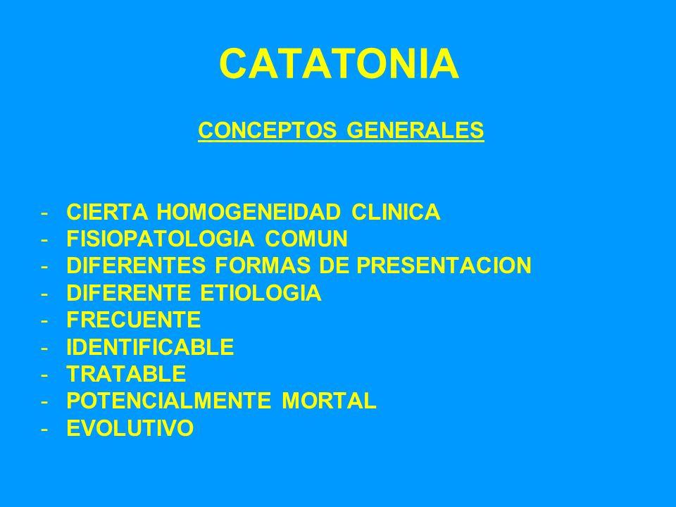 CATATONIA CONCEPTOS GENERALES CIERTA HOMOGENEIDAD CLINICA