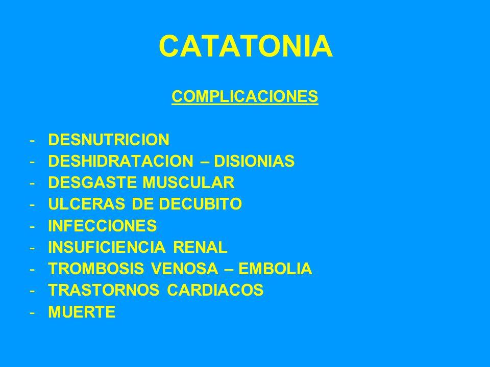 CATATONIA COMPLICACIONES DESNUTRICION DESHIDRATACION – DISIONIAS