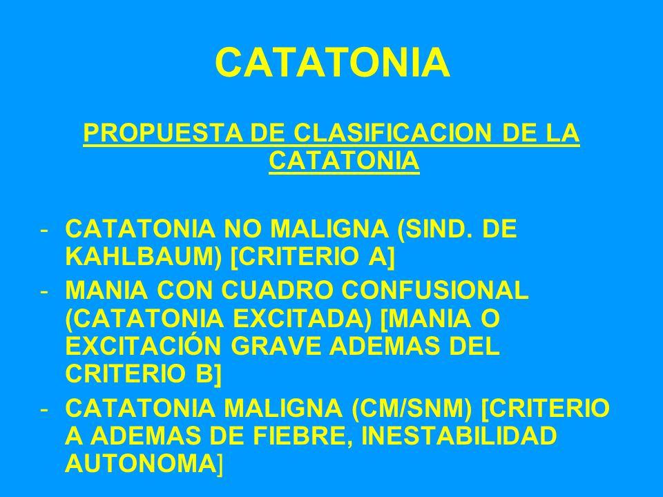 PROPUESTA DE CLASIFICACION DE LA CATATONIA