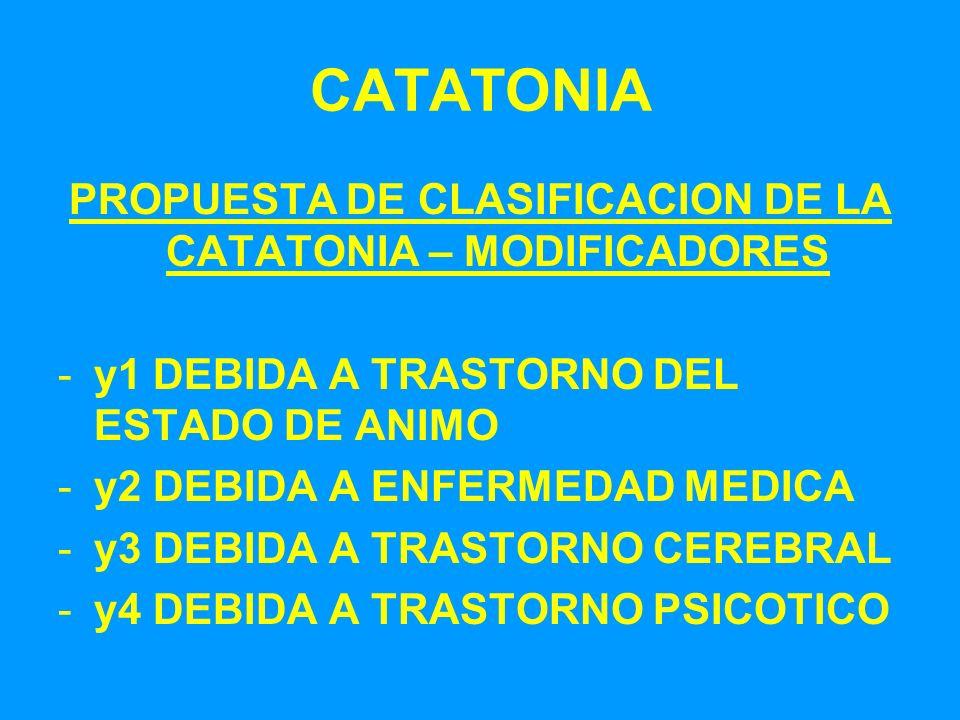 PROPUESTA DE CLASIFICACION DE LA CATATONIA – MODIFICADORES