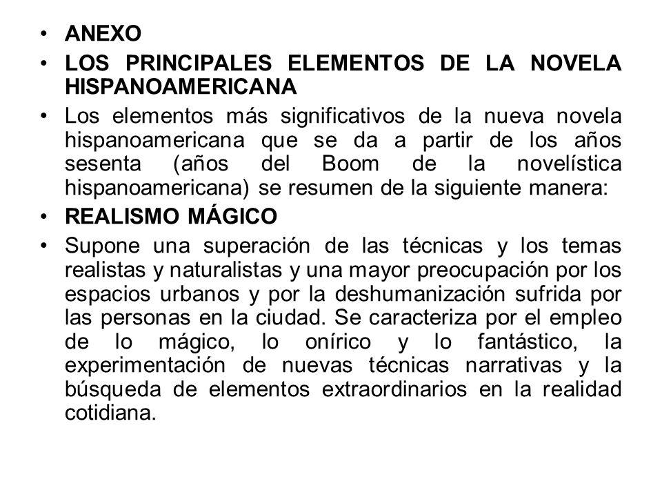 ANEXO LOS PRINCIPALES ELEMENTOS DE LA NOVELA HISPANOAMERICANA.