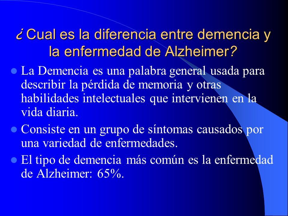 ¿ Cual es la diferencia entre demencia y la enfermedad de Alzheimer