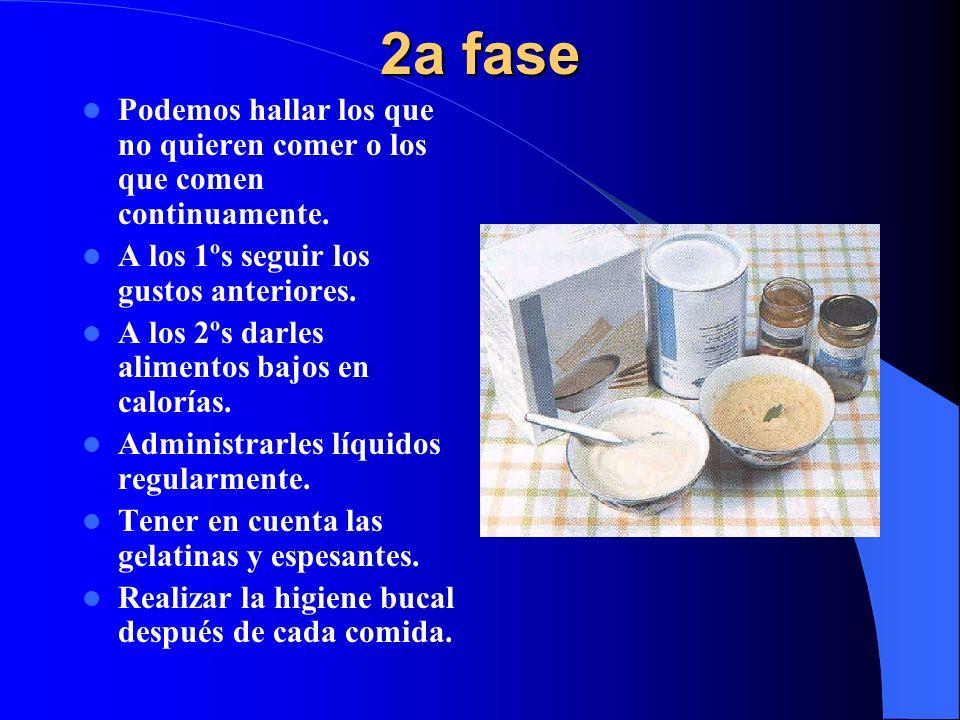 2a fase Podemos hallar los que no quieren comer o los que comen continuamente. A los 1ºs seguir los gustos anteriores.