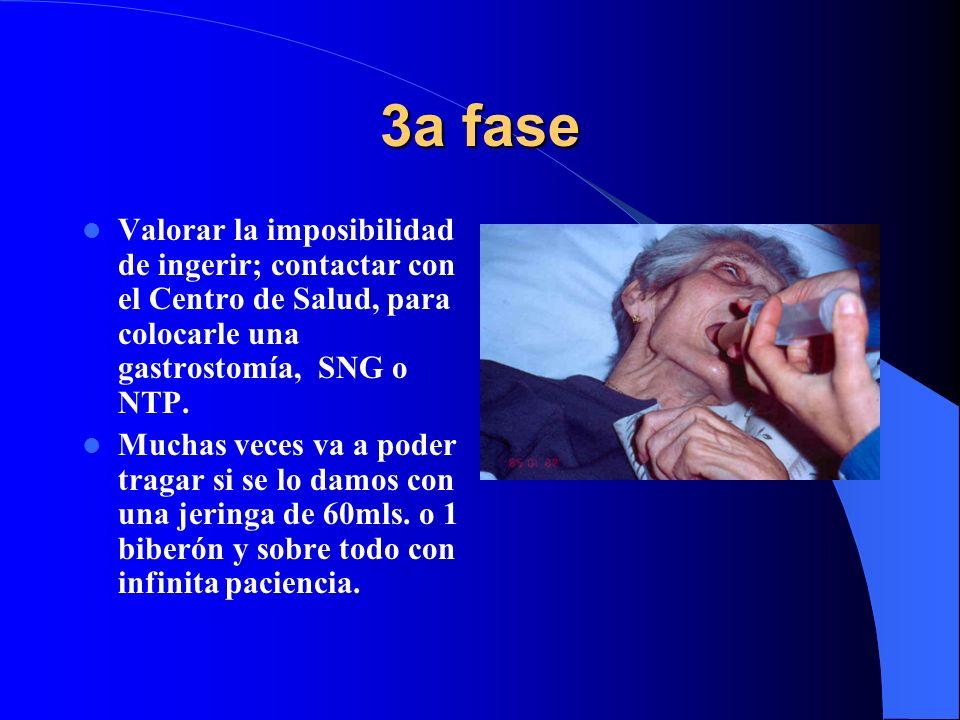 3a fase Valorar la imposibilidad de ingerir; contactar con el Centro de Salud, para colocarle una gastrostomía, SNG o NTP.
