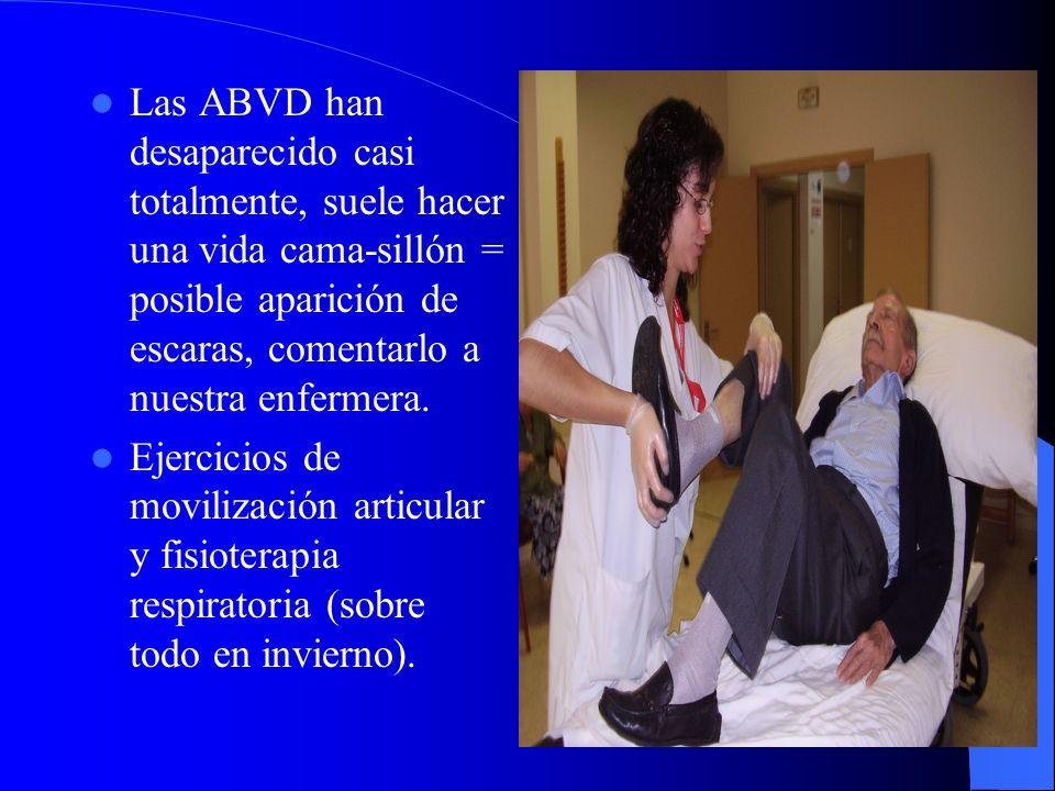Las ABVD han desaparecido casi totalmente, suele hacer una vida cama-sillón = posible aparición de escaras, comentarlo a nuestra enfermera.