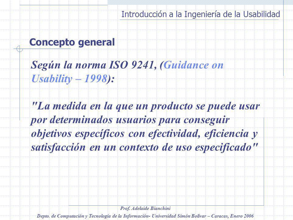 Según la norma ISO 9241, (Guidance on Usability – 1998):