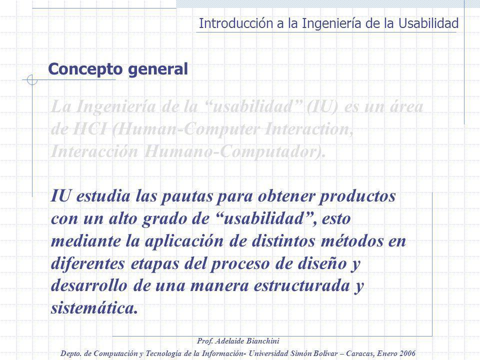 Concepto general La Ingeniería de la usabilidad (IU) es un área de HCI (Human-Computer Interaction, Interacción Humano-Computador).