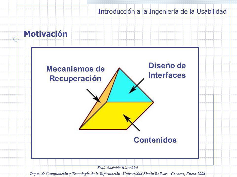 Motivación Contenidos Diseño de Interfaces Mecanismos de Recuperación