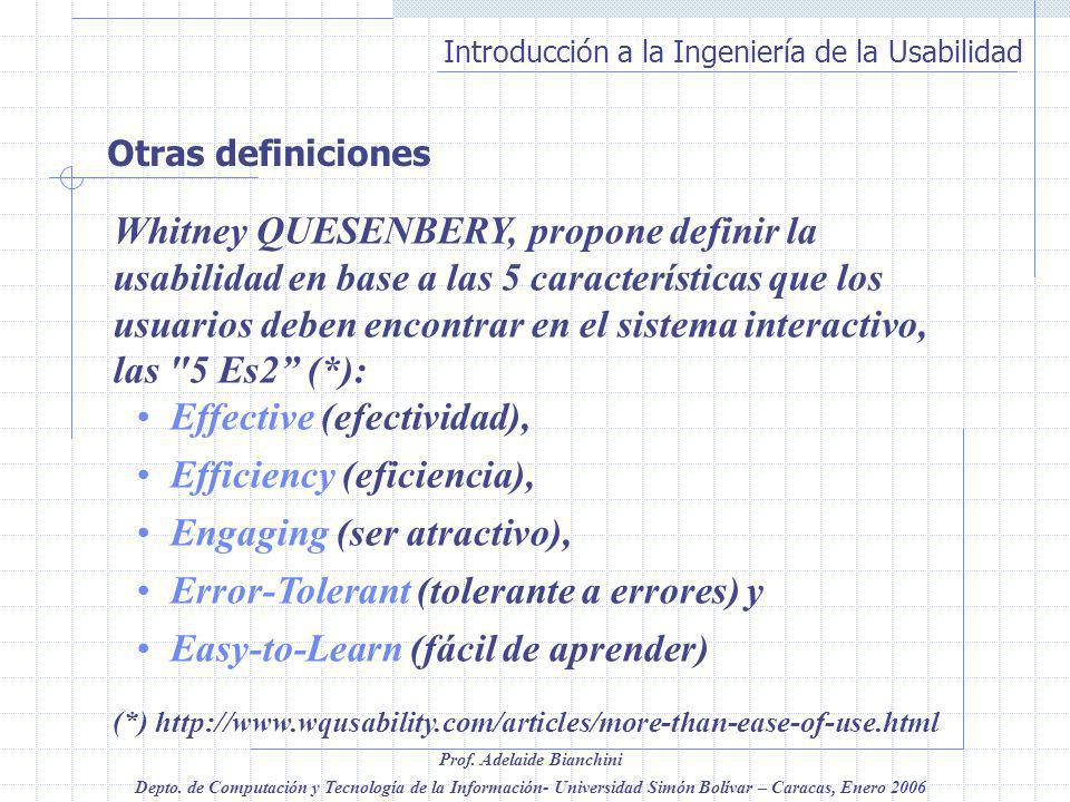 Effective (efectividad), Efficiency (eficiencia),