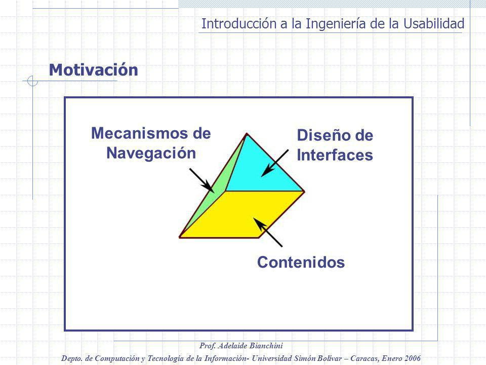 Motivación Contenidos Diseño de Interfaces Mecanismos de Navegación